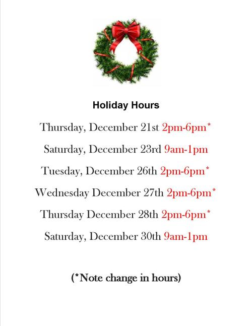 dec 2017 holiday hours