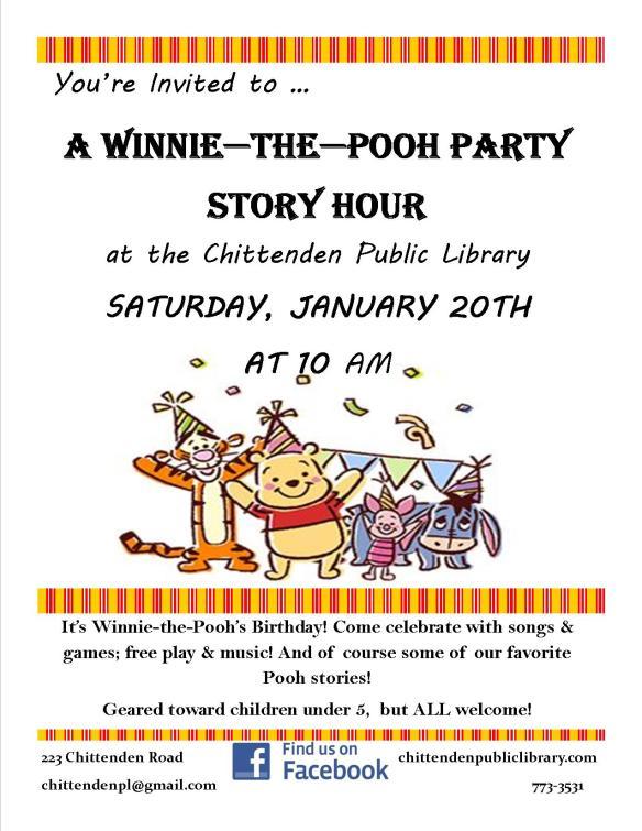 Winnie the Pooh Story Hour Jan 2018