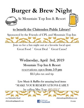 2019 burger and brew night flyer