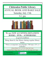 2019 book and bake sale flyer