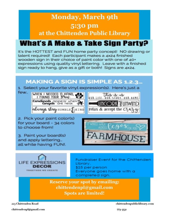 make and take sign party
